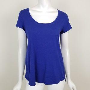 Eileen Fisher XS Blue Scoop Neck Hi Low T Shirt